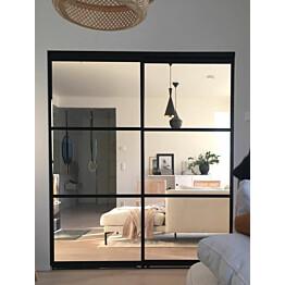 Tilanjakaja/liukuovi Mirror Line kahdella ovella musta mittatilaus