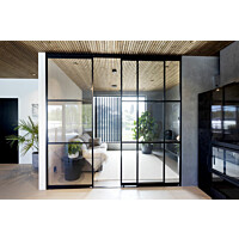 Tilanjakaja/liukuovi Mirror Line kolmella ovella musta mittatilaus