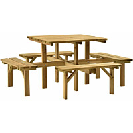 Nelisivuinen piknikpöytä 172x172x73 cm kyllästetty mänty_1