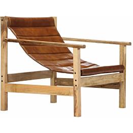 Nojatuoli ruskea aito nahka_1