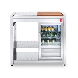 Pöytätaso integroidulla jääkaapilla PLA.NET OASI 97 ICE, työtaso puuta/terästä