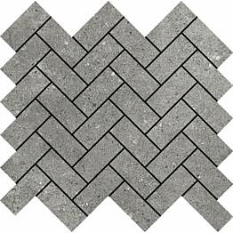 Seinälaatta Pukkila Urban Stone Wall mosaiikki Grey herringbone himmeä sileä 28x65 mm