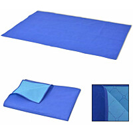 Piknikviltti sininen ja vaaleansininen 150x200 cm_1