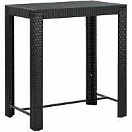 Puutarhan baaripöytä musta 100x60,5x110,5 cm polyrottinki_1