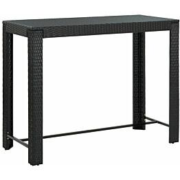 Puutarhan baaripöytä musta 140,5x60,5x110,5 cm polyrottinki_1