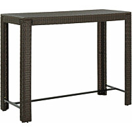 Puutarhan baaripöytä ruskea 140,5x60,5x110,5 cm polyrottinki_1