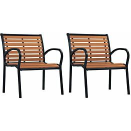 Puutarhatuolit 2 kpl teräs ja wpc musta ja ruskea_1