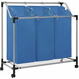 Pyykkikori 3 pussia sininen teräs_1