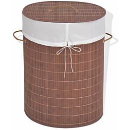 Pyykkikori bambu soikea ruskea_1