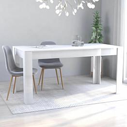 Ruokapöytä korkeakiilto valkoinen 160x80x76 cm lastulevy_1