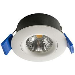 LED-alasvalo Airam Compact Ø80x39 mm IP44 5W/830 himmennettävä suunnattava valkoinen