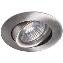 LED-alasvalo Airam Compact Ø80x39 mm IP44 5W/830 himmennettävä suunnattava satiini nikkeli