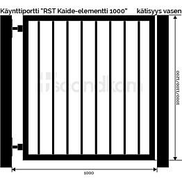 Käyntiportti Scandkom Kaide 1100x1000 mm rst