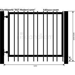 Käyntiportti Scandkom Moderni 1100x1200 mm rst