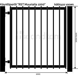 Käyntiportti Scandkom Muuriaita 1000x1000 mm rst