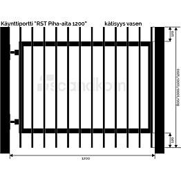 Käyntiportti Scandkom Piha-aita 1000x1200 mm rst