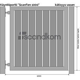 Käyntiportti Scandkom ScanFen 1000x1000 mm puukomposiitti