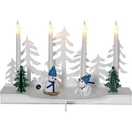 LED-kynttelikkö Star Trading Snowy 4-osainen 190x300x130mm valkoinen