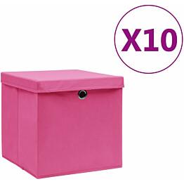 Säilytyslaatikot kansilla 10 kpl 28x28x28 cm pinkki_1