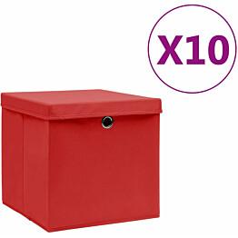Säilytyslaatikot kansilla 10 kpl 28x28x28 cm punainen_1