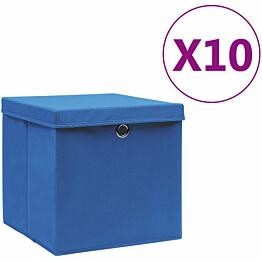 Säilytyslaatikot kansilla 10 kpl 28x28x28 cm sininen_1