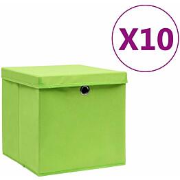 Säilytyslaatikot kansilla 10 kpl 28x28x28 cm vihreä_1
