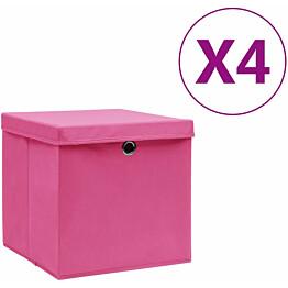 Säilytyslaatikot kansilla 4 kpl 28x28x28 cm pinkki_1