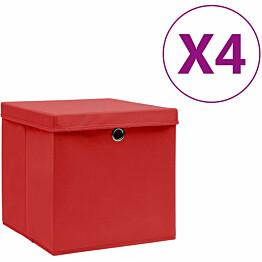 Säilytyslaatikot kansilla 4 kpl 28x28x28 cm punainen_1