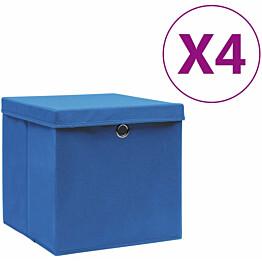 Säilytyslaatikot kansilla 4 kpl 28x28x28 cm sininen_1