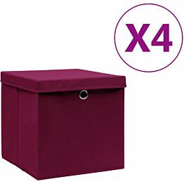 Säilytyslaatikot kansilla 4 kpl 28x28x28 cm tummanpunainen_1