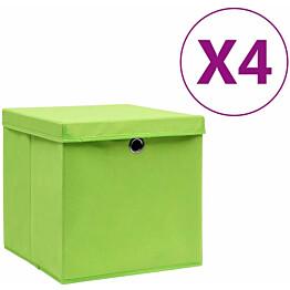 Säilytyslaatikot kansilla 4 kpl 28x28x28 cm vihreä_1