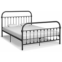 Sängynrunko harmaa metalli 140x200 cm_1