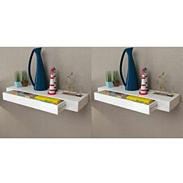 Seinähyllyt laatikoilla 2 kpl piilokiinnitys valkoinen 80 cm_1