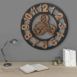 Seinäkello metalli 58 cm kultainen ja musta_1