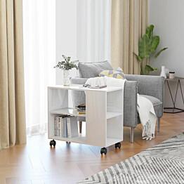 Sivupöytä korkeakiilto valkoinen 70x35x55 cm lastulevy_1