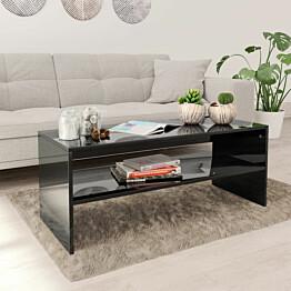 Sohvapöytä korkeakiilto musta 100x40x40 cm lastulevy_1