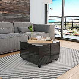 Sohvapöytä korkeakiilto musta 60x60x35 cm lastulevy_1