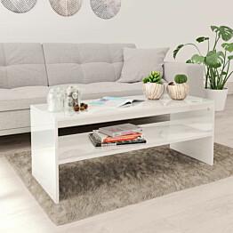 Sohvapöytä korkeakiilto valkoinen 100x40x40 cm lastulevy_1