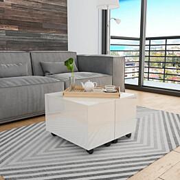 Sohvapöytä korkeakiilto valkoinen 60x60x35 cm lastulevy_1