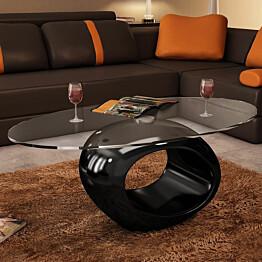 Sohvapöytä soikea lasinen pöytälevy korkeakiilto musta_1