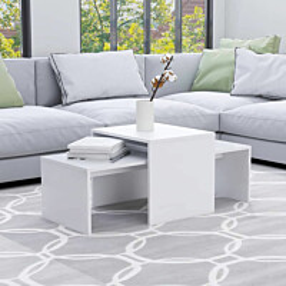 Sohvapöytäsarja valkoinen 100x48x40 cm lastulevy_1