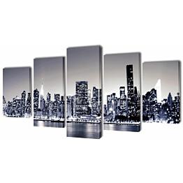 Taulusarja new york taivaanranta mustavalkoinen 100 x 50 cm_1