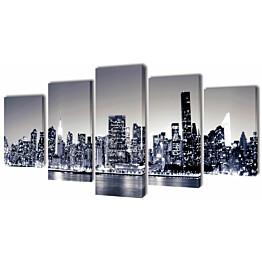 Taulusarja new york taivaanranta mustavalkoinen 200 x 100 cm_1