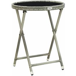 Teepöytä harmaa 60 cm polyrottinki ja karkaistu lasi_1