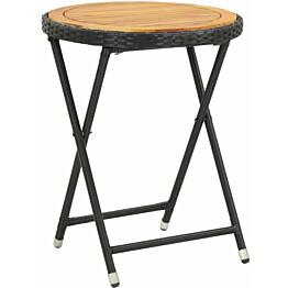 Teepöytä musta 60 cm polyrottinki ja täysi akaasiapuu_1