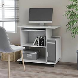 Tietokonepöytä korkeakiilto valkoinen 80x50x75 cm lastulevy_1
