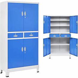 Toimistokaappi 4 ovella metalli 90x40x180cm harmaa ja sininen_1