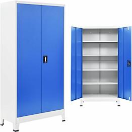 Toimistokaappi metalli 90x40x180 cm harmaa ja sininen_1