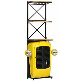 Traktoriviinikaappi keltainen 49x31x170 cm täysi mangopuu_1