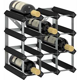 Viinipulloteline 12 pullolle musta täysi mänty_1